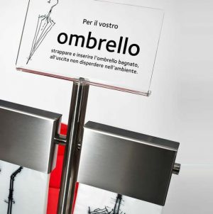 Milano Wet Umbrella Bag Stand Stainless with Bags